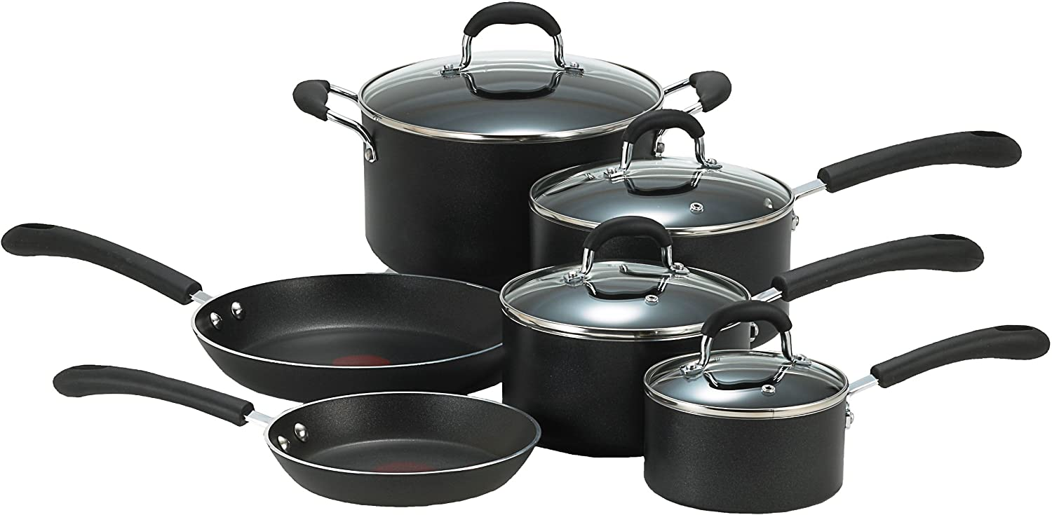 T-fal E938SA74 Professional Total Nonstick Oven Safe Thermo-Spot Heat Indicator Dishwasher Safe 10-Piece  Cookware Set, Black $65.99