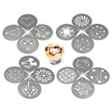 Passionier Barista Coffee Stencils, 16PCS Stainless Steel Coffee Decorating Stencils Template for Latte Cappuccino, Cupcake Cookie Stencils