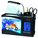 PET LIFE All-In-One Digital Desktop Aquarium and Stationary Office Organizer, One Size, Black (Color: Black, Tamaño: One Size)