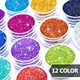 Glitter Wenida 12 Colors Holographic Cosmetic Laser Festival Powder Sequins Craft Glitter for Arts Face Hair Body Nail (Color: 12 Colors # 2, Tamaño: 12 Boxes)