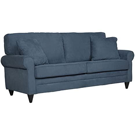 Handy Living BRD-S1-ACS55 Beaumont SoFast Suede Sofa, Denim Blue