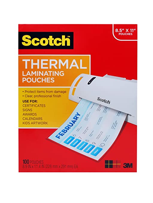 Scotch Thermal Laminating Pouches, 8.9 x 11.4-Inches, 3 mil thick, 100-Pack for $11.99