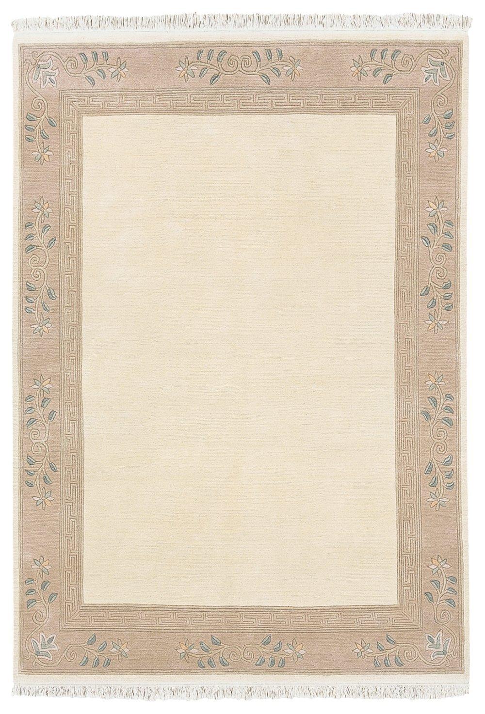 """TEPPICHWELT SONA-LUX Nepal Teppich handgeknüpft creme """"Größe auswählen"""" 70 x 140 cm"""
