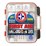 First Aid Kit Hard Red Case 326 Pieces Exceeds OSHA and ANSI Guidelines 100 People - Office, Home, Car, School, Emergency, Survival, Camping, Hunting, and Sports (Color: Red, Tamaño: 0.5 x 0.4 x 0.2 inches)