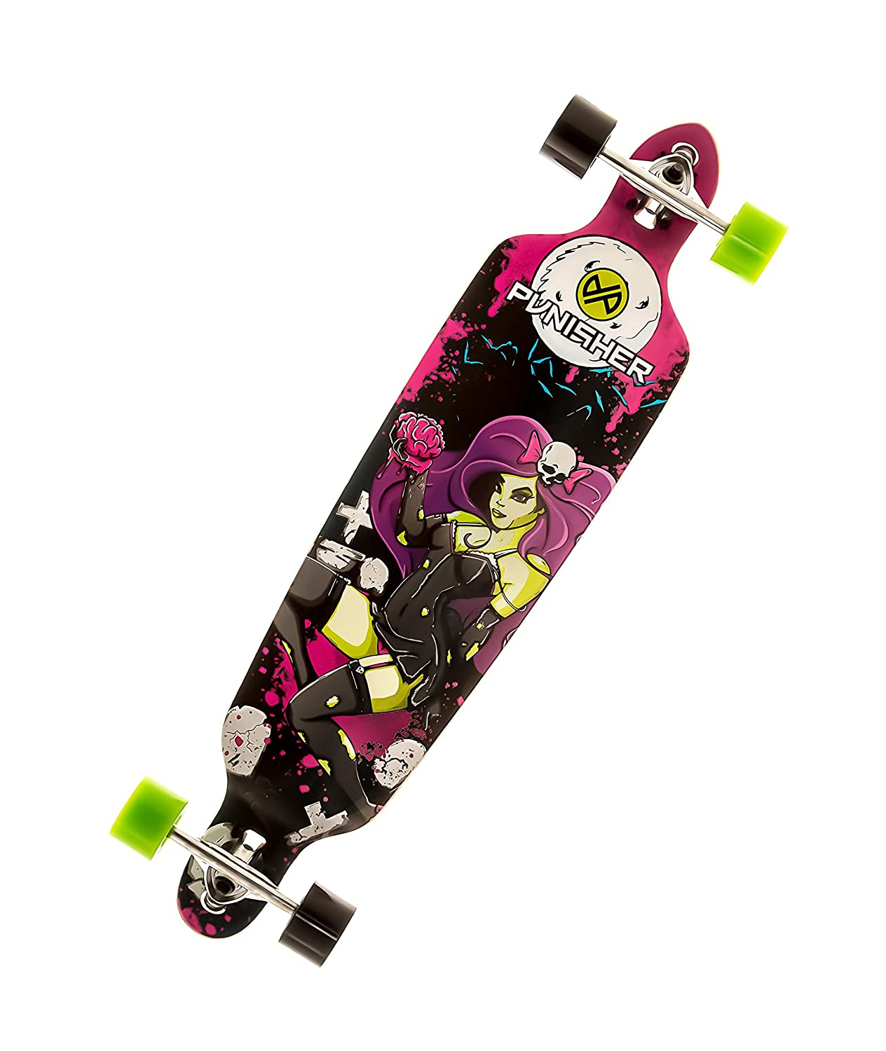 Punisher Skateboards Zombie Drop-Through Canadian Maple Longboard Skateboard with Concave Deck, Purple/Black, 40-Inch wooden 22 27 skateboards mini longboard complete peny skate board canadian maple skateboard deck adult children 4 wheel skates