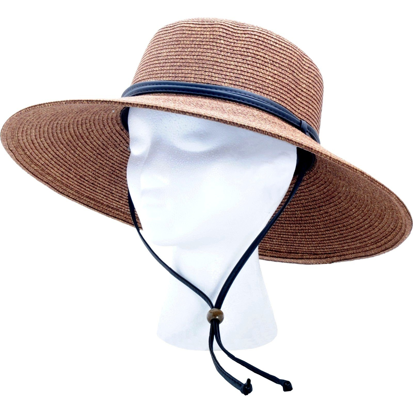 Women's Wide Brim Braided Sun Hat with Wind Lanyard