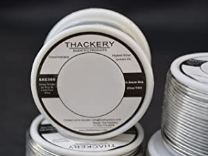 Thackery Silver Flux Core Solder Wire - SAC305 - available in 1mm and .8mm thickness - sold by the foot/meter (25m/75ft x .8mm Thickness) (Tamaño: 25m/75ft x .8mm Thickness)