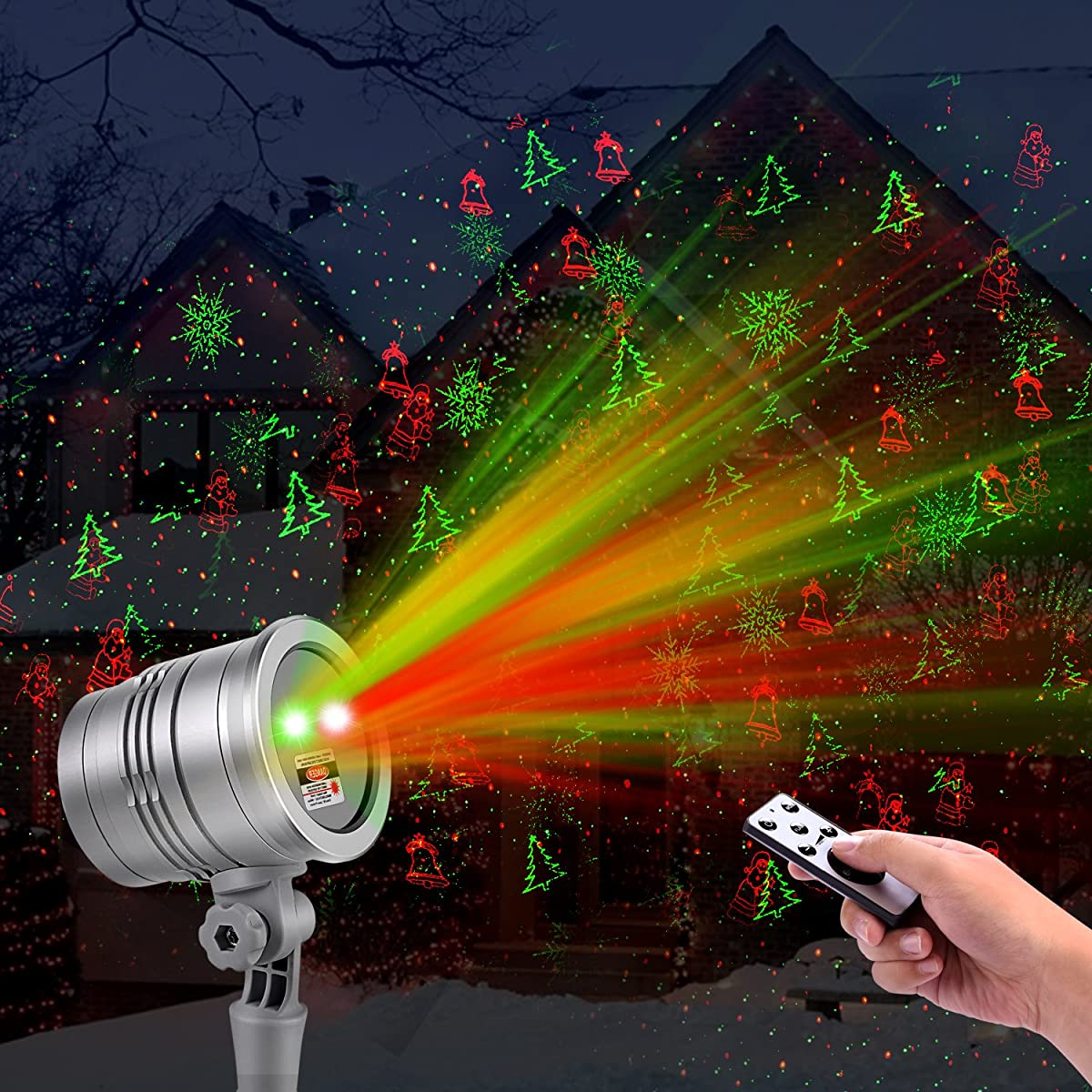 Christmas Laser Lights,Outdoor Projector Lights by Clustars,Stars/Snowflake/Jingling Bell/Xmas Tree/Santa Claus with Remote Control for Xmas,Birthday Decoration(1-Pack)