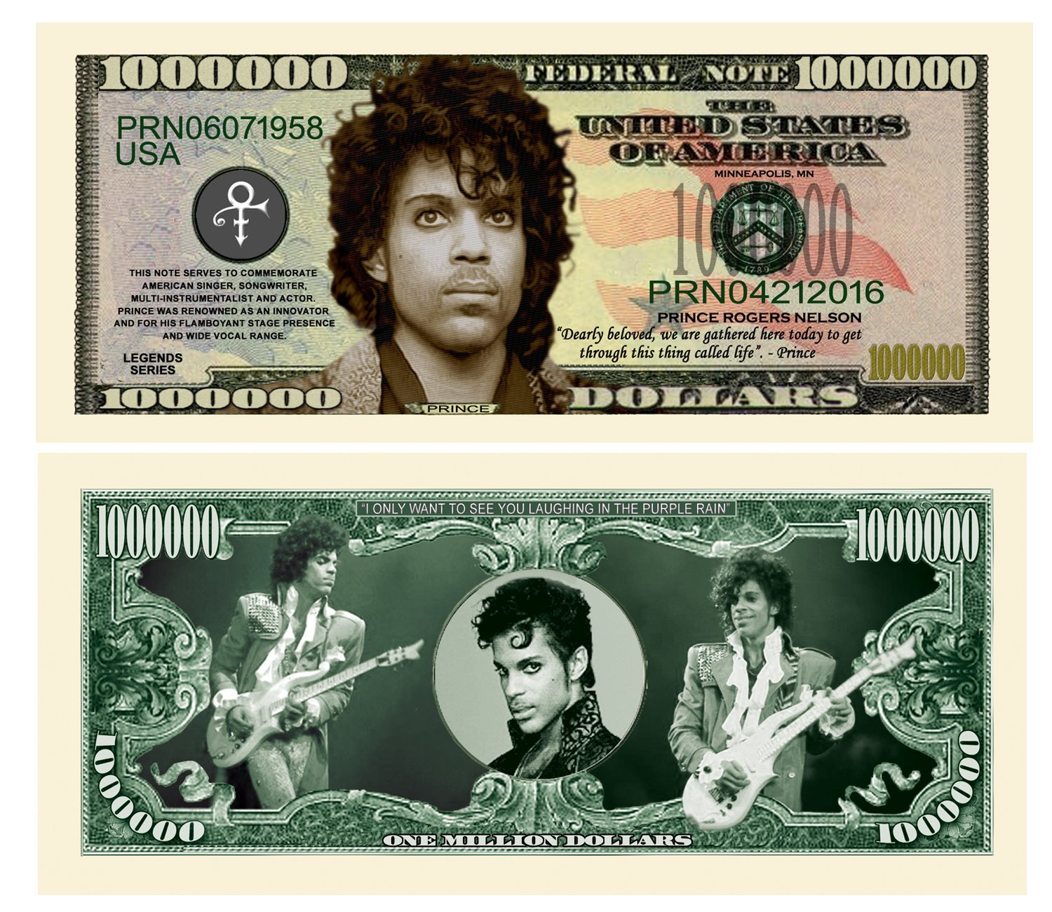 Limited Edition Prince Commemorative Million Dollar Collectible Bill in Currency Holder
