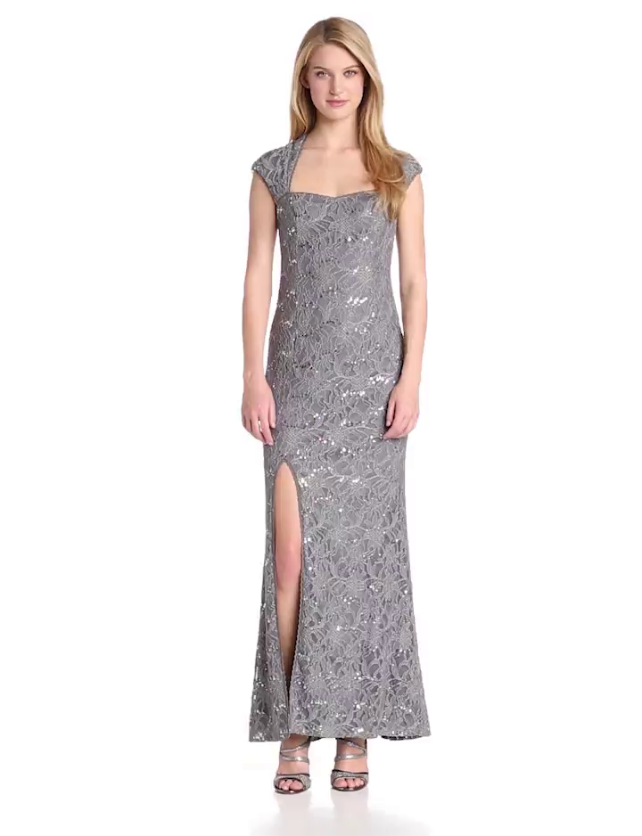 Hailey by Adrianna Papell Womens Cap Sleeve Gown with Side Slit