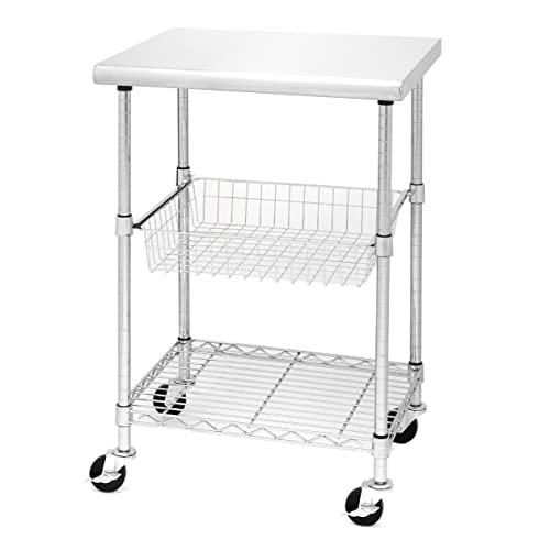 Flip And Fold Rolling Table Stainless Steel Wood: Kitchen Cart Rolling Food PREP Storage Table Workstation