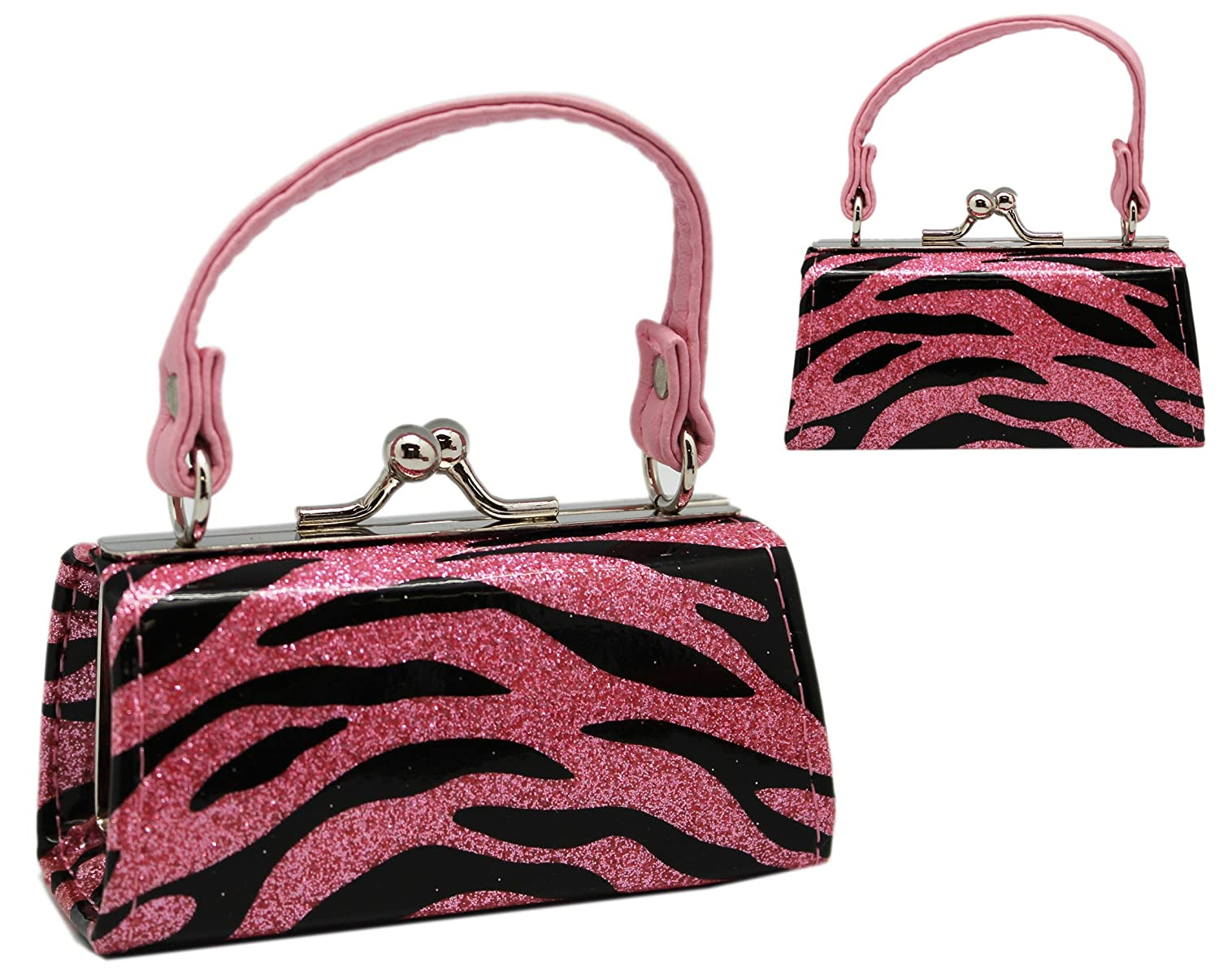 Glittery Black and Pink Zebra Stripe Mini Snap Purse for Coins