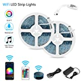 LED Strip Lights, WiFi Wireless Smartphone Controlled Waterproof RGB Rope Lights Flexible 5050 Light Strip 32.8ft 300LEDs 24key IR Remote Controller DC12V UL Power Adapter Work with Android iOS Alexa (Color: Multicolor)