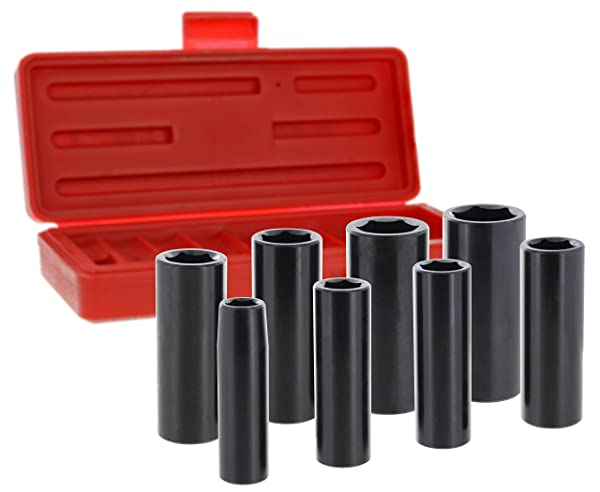 Drixet 3/8 Drive Deep SAE/Inch Impact Socket Set | 8-Piece 6-Point CR-V Sockets with Case | Includes Sizes: 3/8, 7/16, 1/2, 9/16, 5/8, 11/16, 3/4 & 13/16 (Color: Black, Tamaño: Inch)