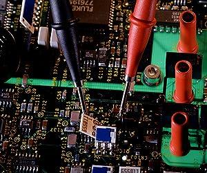 Fluke TP2 2 Piece Slim-Reach Test Probe Set with Stainless Steel Tip, 1000V Voltage, 10A Current, 2mm Tip Diameter