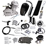 Iglobalbuy 80CC Petrol Gas Motor Bicycle Engine Complete Kit Motorized Bike 2-Stroke (silver) (Color: silver)