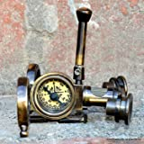 Antique Brass Folding Instrument Binocular Compass Brass Binocular SpyglassGift (Color: Brown)