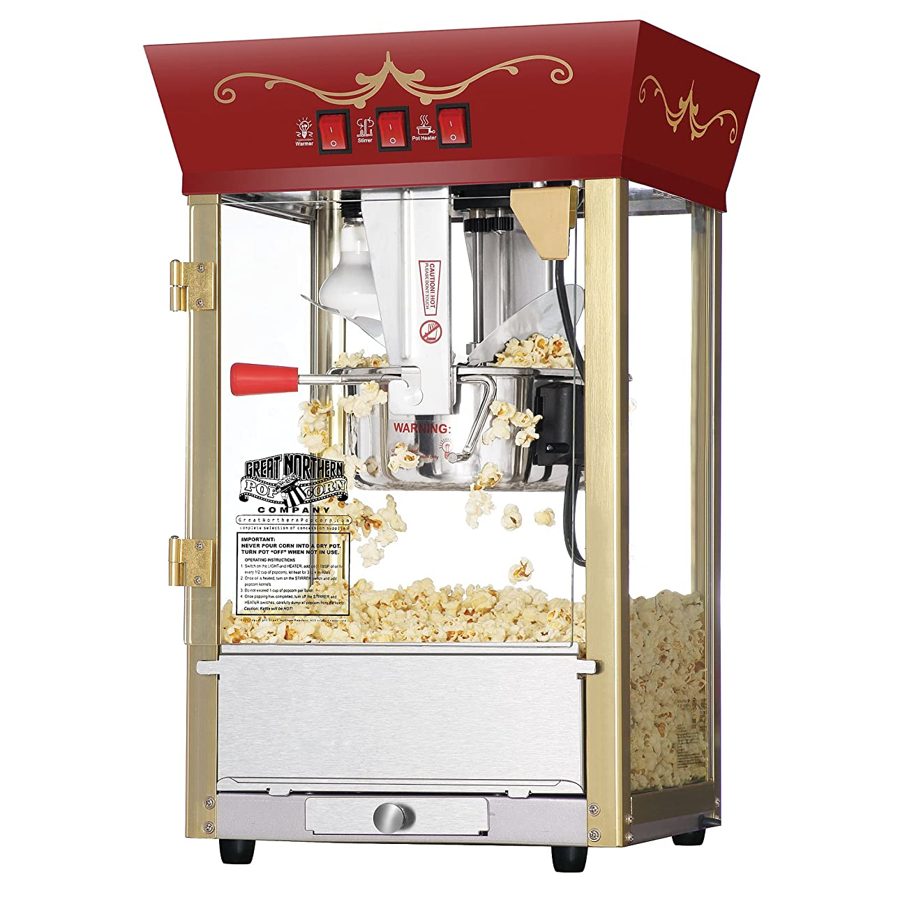 Great Northern Popcorn Red Matinee Movie Theater Style 8 oz. Ounce Antique Popcorn Machine 0