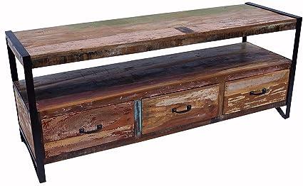 Vintage Fernsehtisch, Sideboard aus Metall und Recyclingholz / Kommoden, Sideboards & Fernsehtische