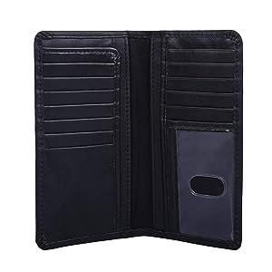 Men's RFID Protected Top Grain Leather Bifold Wallet Slim Masculine Design Long Wallet (Raven) (Color: Raven, Tamaño: 6.75 X 3.5 Inch)
