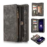 Galaxy S8 Plus Case,AKHVRS Handmade Premium Cowhide Leather Wallet Case,Zipper Wallet Case [Magnetic Closure]Detachable Magnetic Case & Card Slots for Samsung Galaxy S8 Plus - Black