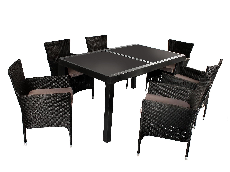 7tlg. Sitzgruppe Modica Aluminium Ausziehtisch ca. 150/210 x 90 cm anthrazit, Polyrattan Sessel schwarz günstig online kaufen