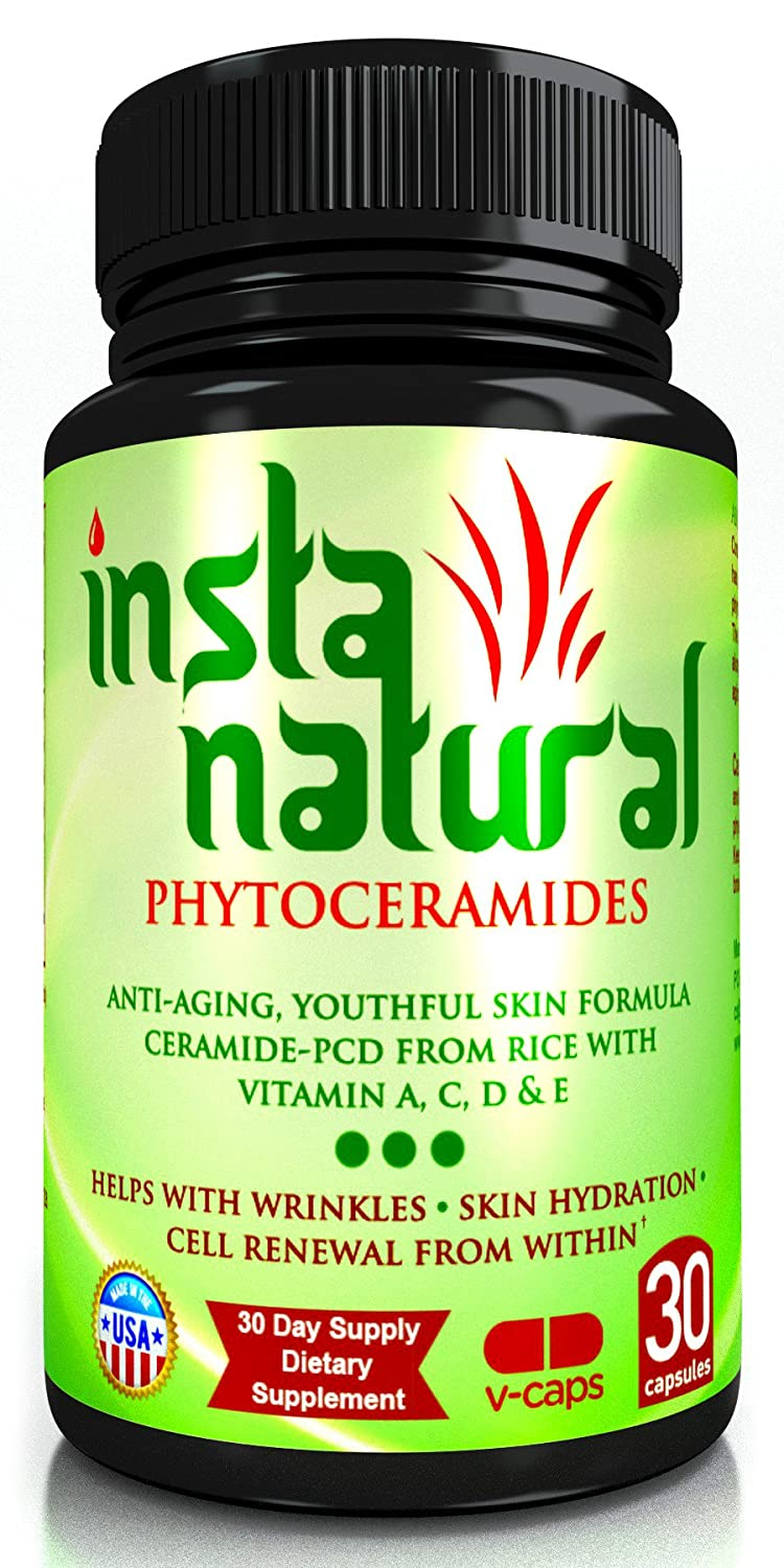 Phytoceramides Plant Derived 100% Gluten Free & Wheat Free By ★ InstaNatural | Anti-Aging Supplement Made from Rice with Best Vitamins A, C, D & E for Beautiful Skin – More Advanced Than 350 Mg Phytoceramides | Healthy Skin Hydration 100% Guarantee