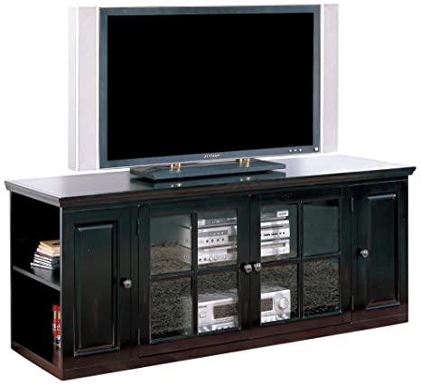 Leick Riley Holliday Black Rub TV Stand with Storage, 62-Inch