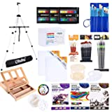 Artist Painting Set, 128Pcs Artist Set W/Table-Top & Field Easels, Art Painting Brushes, Paint Tubes, Painting Pads, Canvas Boards, Painting Knife for Oil, Watercolor, Acrylic Painting & Art Sketch (Tamaño: 128 Pcs)
