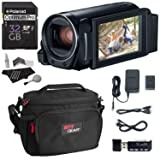 Canon Vixia Hf R800 A Camcorder Kit, Polaroid 32GB Class 10 SD Card, Lowepro Bag, Cleaning Kit, Ritz Gear Card Reader and Accessory Bundle (Color: Black)