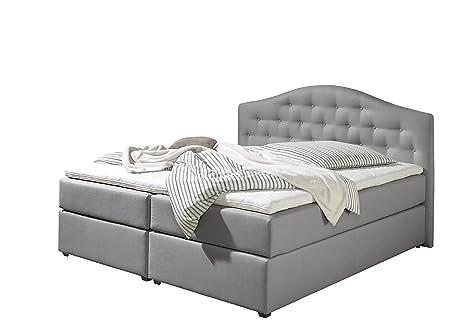 Maintal Betten 243835-3179 Boxspringbett Amber 140 x 200, inkl. Kaltschaum-Topper, Strukturstoff