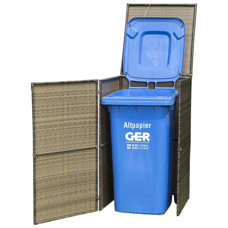 Mülltonnenbox gross für Tonnen bis 240 Liter, 76x78x123cm, Stahl + Polyrattan Geflecht mocca kaufen