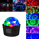 Portable Sound Activated DJ Light 3W Battery Operated Disco Ball Lamp Wireless 3 Colors Stage Lights for Home/Festival/Party/Club/Wedding (Mode2)