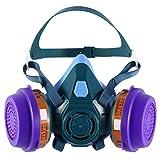 Holulo Half Face Respirator Reusable Mask for Anti-Dust,Paint Spray, Organic Vapor Respiratory Protection (Blue)