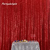 PartyDelight 4ftX7ft Red Sequin Backdrop Curtain Photo Booth for Wedding Party Birthday Decoration. (Color: Red, Tamaño: 4FTx7FT)