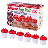 Egg Cooker Maker Egg Cooker Hard Boiled Eggs without the egg Shell Non Stick Silicone, Steamer (6 PACK) (Color: red)