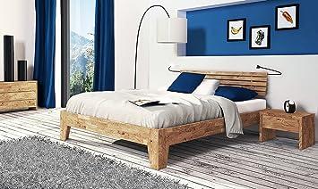 SAM® Massiv-Holzbett Beaumont in Wildeiche natur, Bett mit hohem mehrfach geteiltem Kopfteil, naturliche Maserung, massive widerstandsfähige Oberfläche in zeitlosem Braunton, 180 x 200 cm