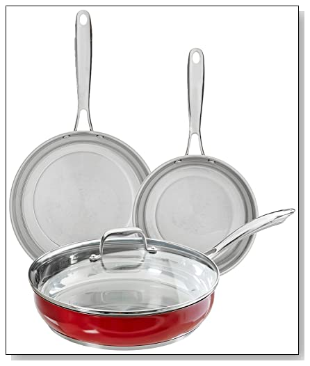 KitchenAid KCSS08ER Empire Red Cookware Set