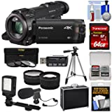 Panasonic HC-WXF991 Wi-Fi 4K Ultra HD Video Camera Camcorder with 64GB Card + Hard Case + Tripod + LED Light + Mic + Filters + Tele/Wide Lens Kit (Color: Clear)