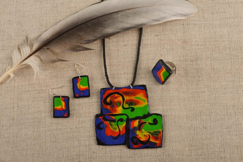 Schmuck Set Handmade Schmuck Ring Damen Ohrringe Halskette mit Anhänger grell als Weihnachtsgeschenk kaufen