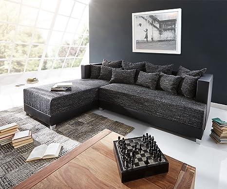 Couch Megara Schwarz 276x204 Schlaffunktion Ottomane Links Ecksofa