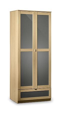 Julian Bowen Strada Combination Wardrobe, Light Oak/Grey