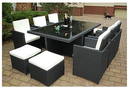 Gartenmöbel PolyRattan Essgruppe Tisch mit 6 Stuhlen & 4 Hocker DEUTSCHE MARKE -- EIGNENE PRODUKTION Garten Möbel incl. Glas und Sitzkissen Ragnarök-Möbeldesign