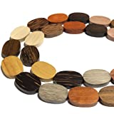 [ABCgems] Premier-Wood-Collection (Rainbow Combination- Up to 12 Different Exotic Hardwood) Precision-Cut 18X25X5mm Smooth Flat Oval Wood Beads (No Clasp) (Color: Oval, Tamaño: 7) 20mm-25mm)