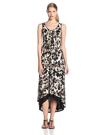 Kensie Women's Floral Camo Maxi Dress, Quicksand Combo, X-Small