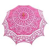 Topwedding Battenburg Lace Outdoor Wedding Parasol Bridal Shower Umbrella, Fuschia (Color: Fuschia, Tamaño: onesize)