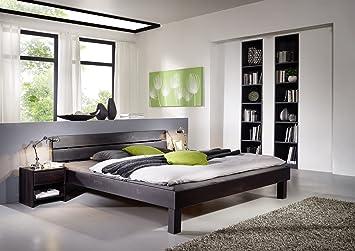 XXS® Campino Holzbett 120 x 200 cm in Kernbuche wenge, massives Bett in naturlichem Design, hohes geteiltes Kopfteil fur Leseabende, zeitloses Buchenbett fur Ihr Schlafzimmer