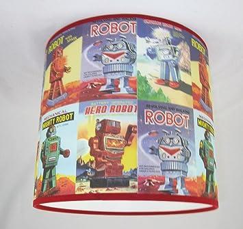 abat jour fait main 41cm 41cm vintage robots papier cuisine maison maison z222. Black Bedroom Furniture Sets. Home Design Ideas