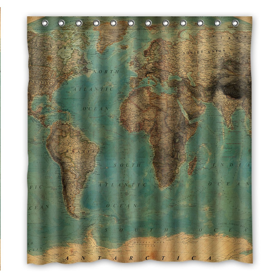 "Custom Fashionable Vintage Style World Map Pattern Waterproof Fabric Bathroom Shower Curtain 66"" x 72"",about 167cm x 183cm"