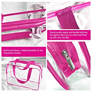 3Pcs Clear Cosmetic Bag Air Travel Plastic Toiletry Pouch, Water Resistant Packing Cubes with Zipper Closure & Carrying handles for Women Baby Men, Make-up brush Case Beach Pool Spa Gym Bags Hot Pink (Color: Hot-pink)